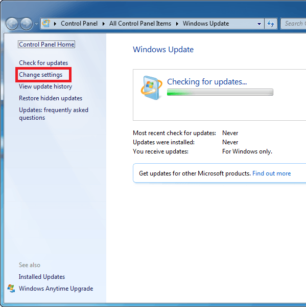 Thao tác update win 7